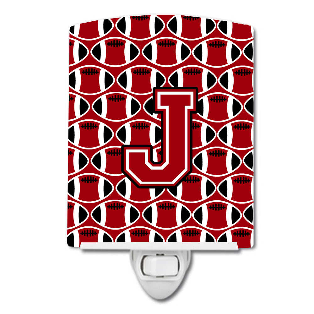 Letter J Football Red, Black and White Ceramic Night Light CJ1073-JCNL by Caroline's Treasures