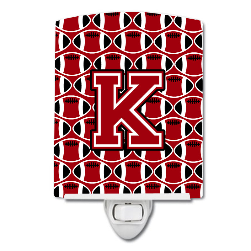 Buy this Letter K Football Red, Black and White Ceramic Night Light CJ1073-KCNL