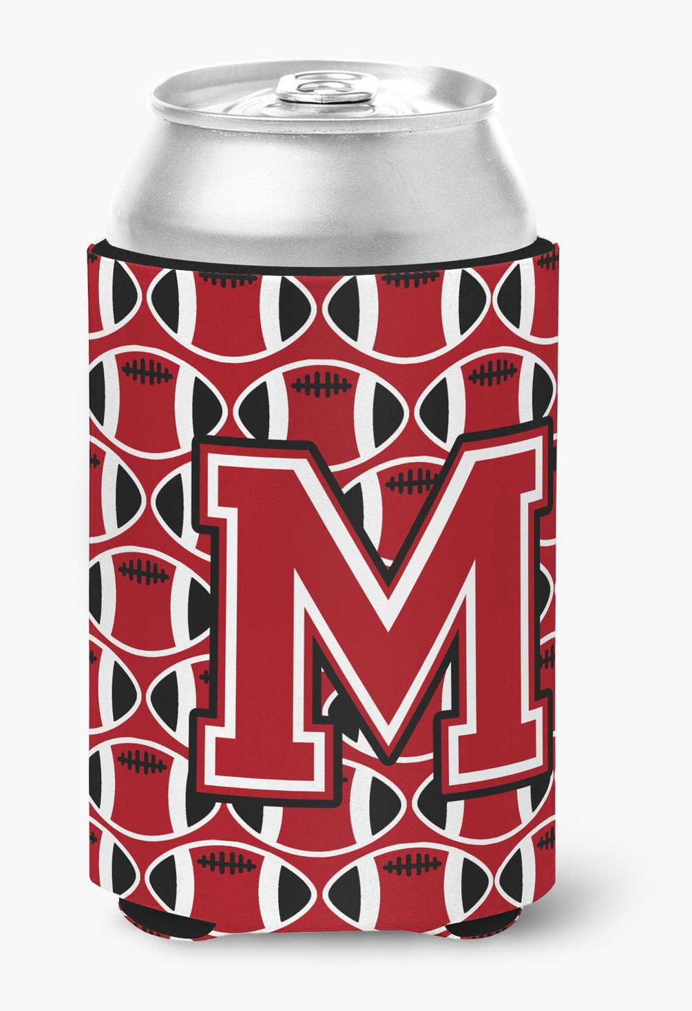 Letter M Football Red, Black and White Can or Bottle Hugger CJ1073-MCC by Caroline's Treasures