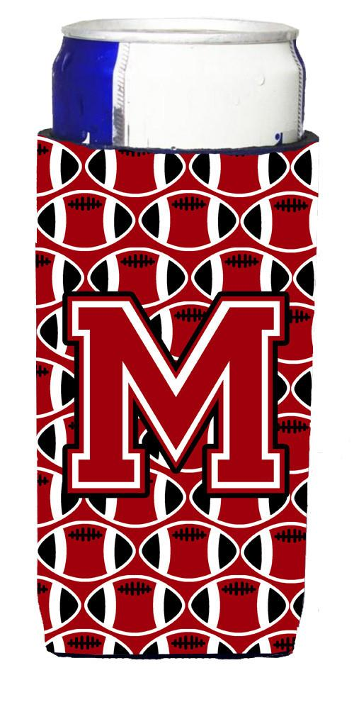 Letter M Football Red, Black and White Ultra Beverage Insulators for slim cans CJ1073-MMUK by Caroline's Treasures