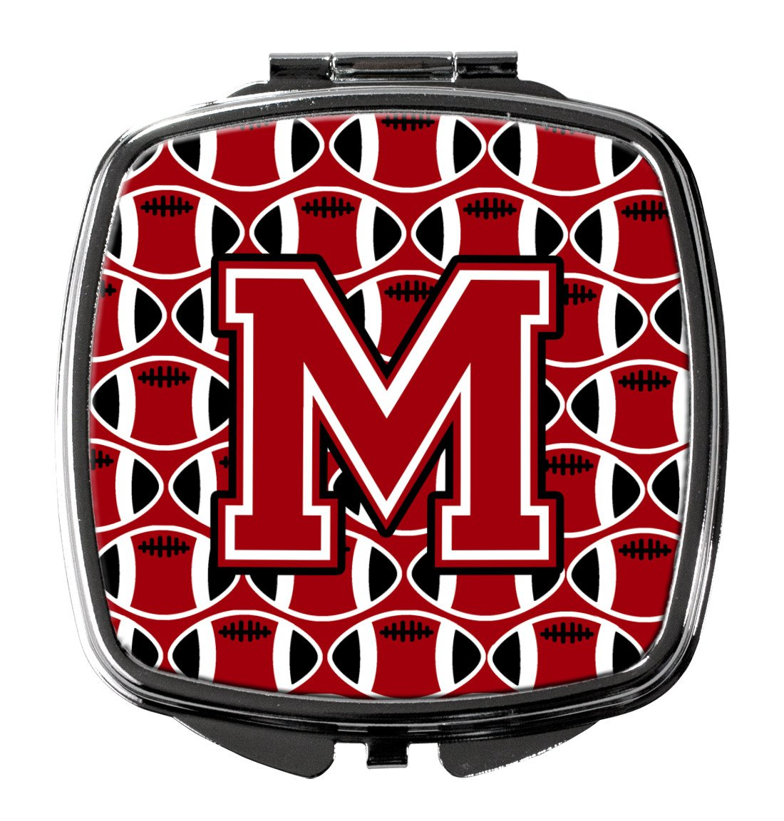 Letter M Football Red, Black and White Compact Mirror CJ1073-MSCM by Caroline's Treasures