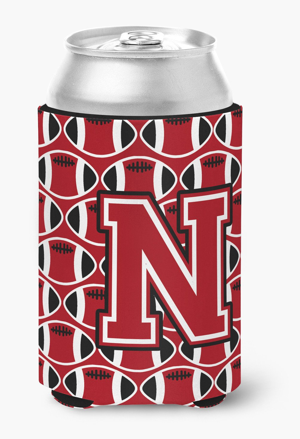 Letter N Football Red, Black and White Can or Bottle Hugger CJ1073-NCC by Caroline's Treasures