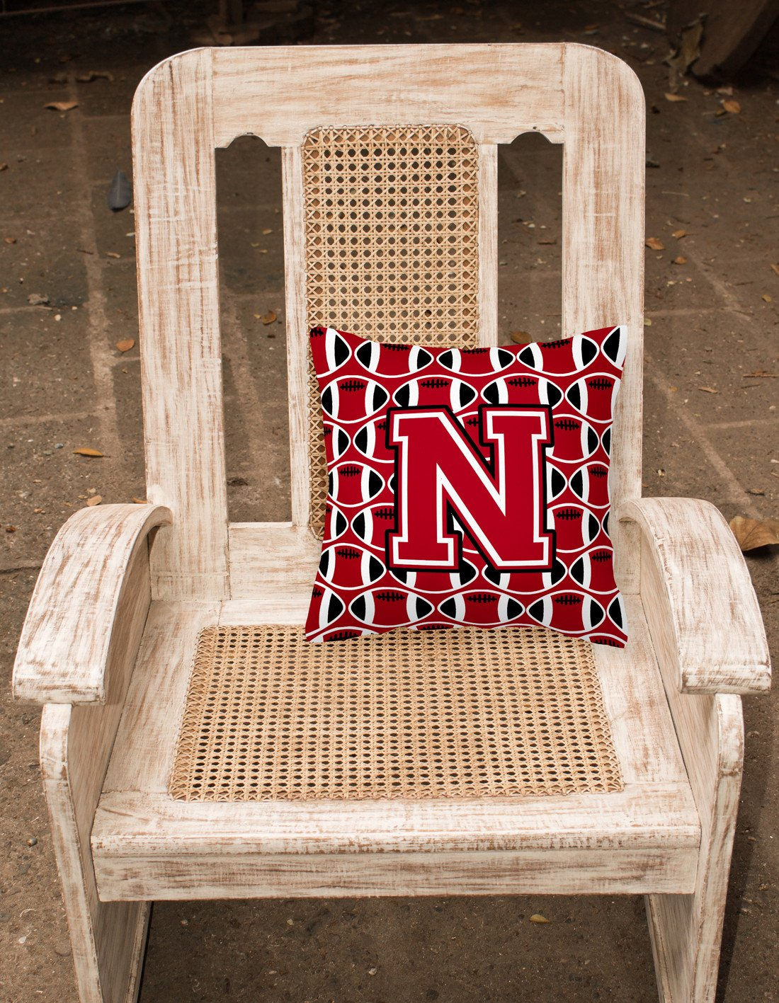 Letter N Football Red, Black and White Fabric Decorative Pillow CJ1073-NPW1414 by Caroline's Treasures
