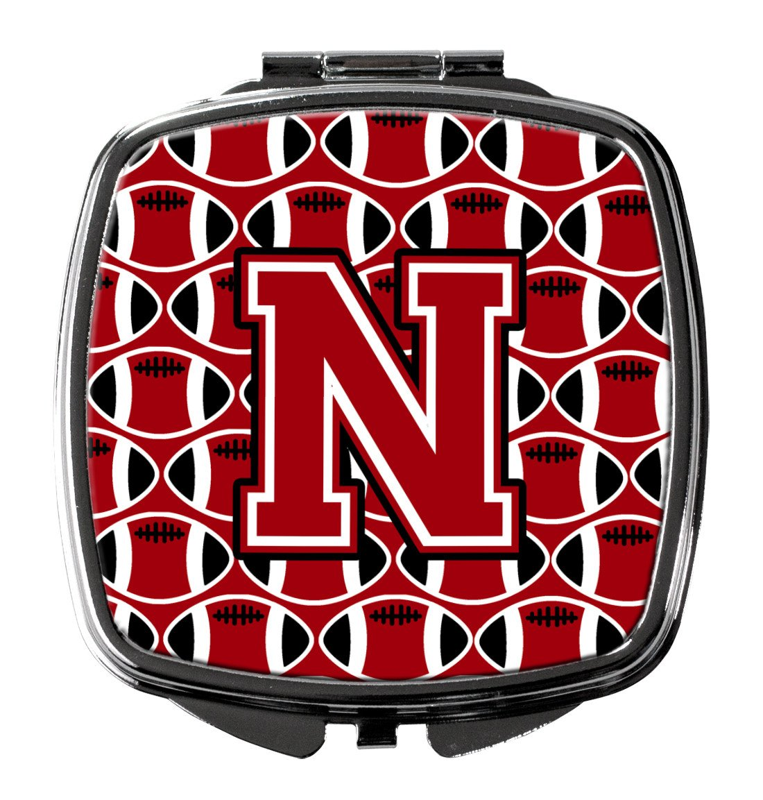 Letter N Football Red, Black and White Compact Mirror CJ1073-NSCM by Caroline's Treasures