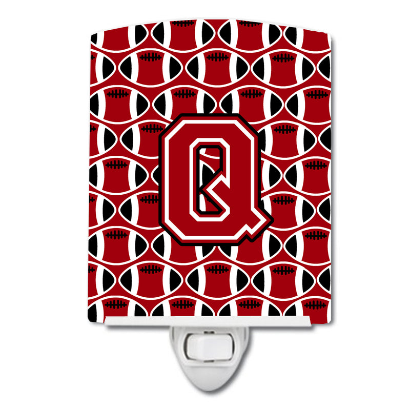 Buy this Letter Q Football Red, Black and White Ceramic Night Light CJ1073-QCNL