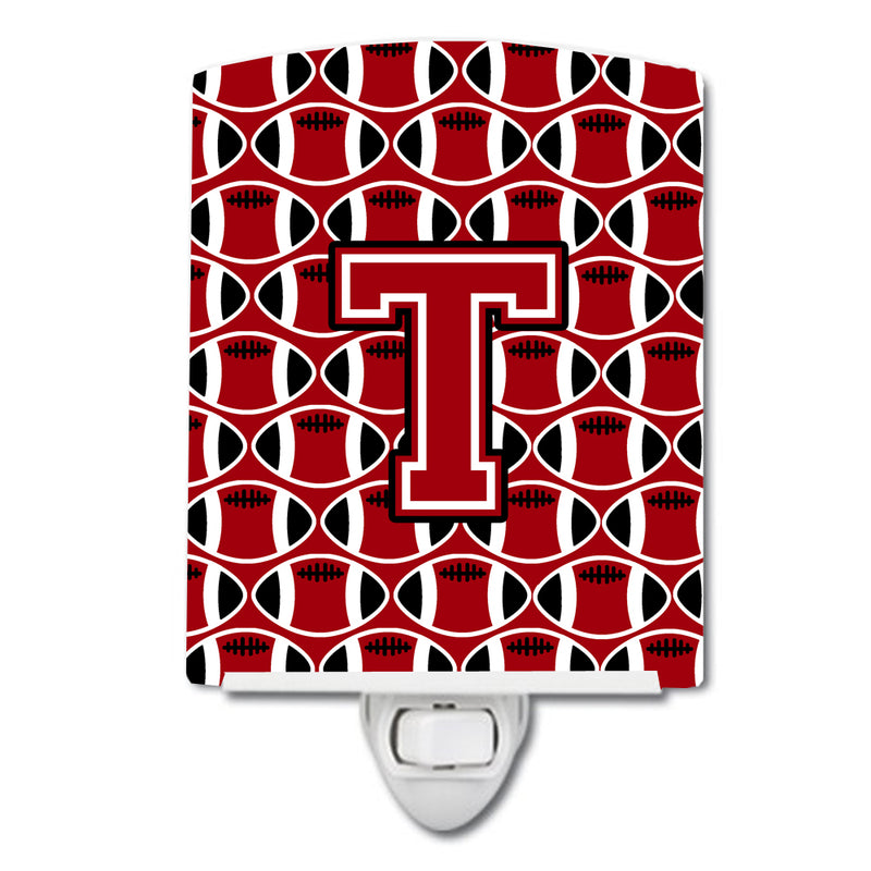 Buy this Letter T Football Red, Black and White Ceramic Night Light CJ1073-TCNL