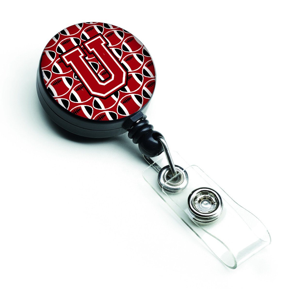 Letter U Football Red, Black and White Retractable Badge Reel CJ1073-UBR by Caroline's Treasures