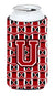 Buy this Letter U Football Red, Black and White Tall Boy Beverage Insulator Hugger CJ1073-UTBC