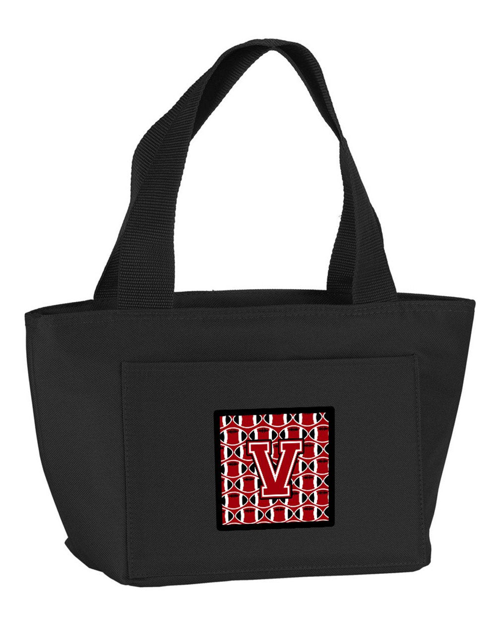 Letter V Football Red, Black and White Lunch Bag CJ1073-VBK-8808 by Caroline's Treasures