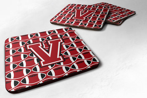Buy this Letter V Football Red, Black and White Foam Coaster Set of 4 CJ1073-VFC