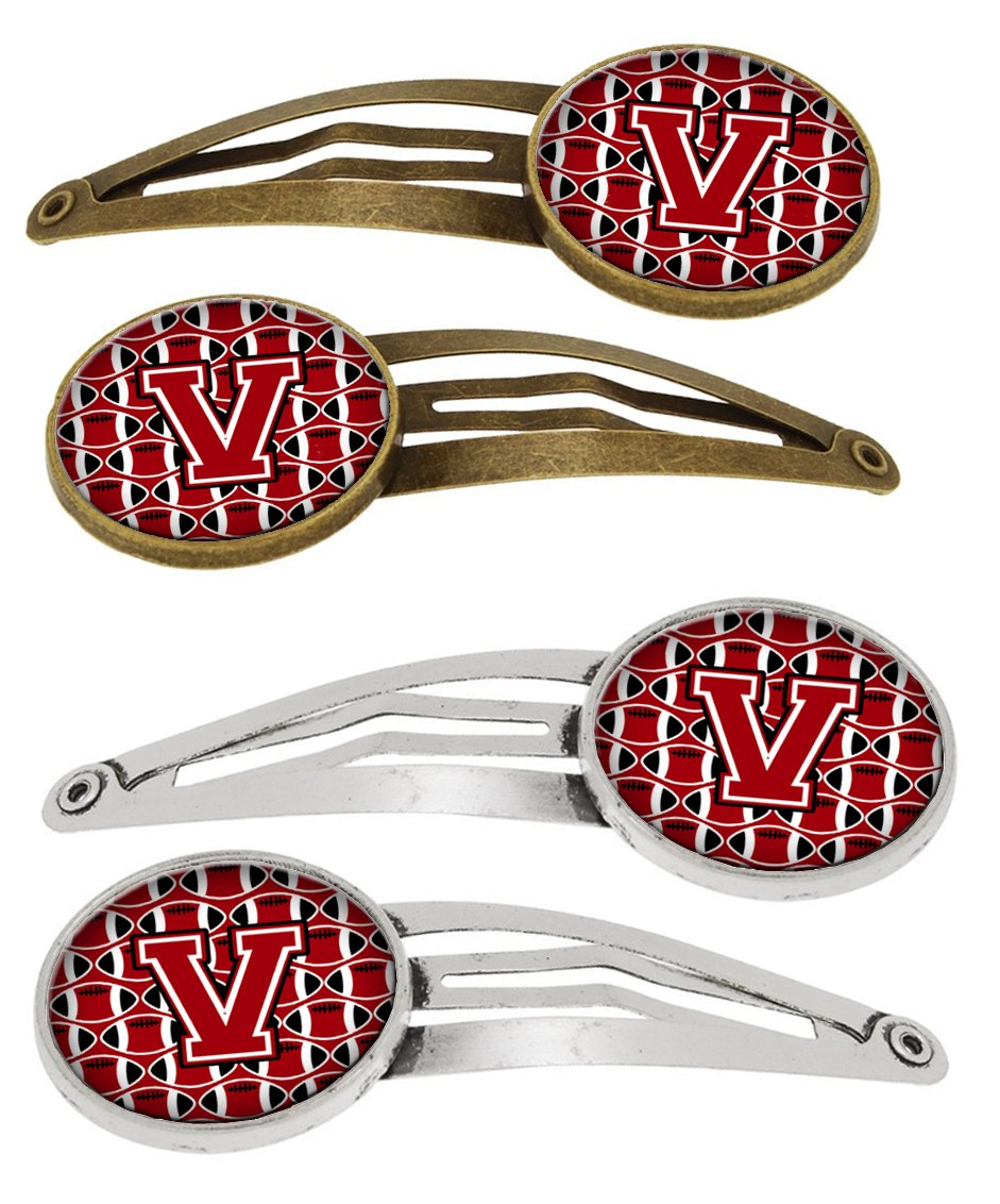 Buy this Letter V Football Red, Black and White Set of 4 Barrettes Hair Clips CJ1073-VHCS4