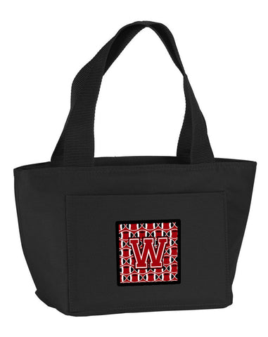 Buy this Letter W Football Red, Black and White Lunch Bag CJ1073-WBK-8808