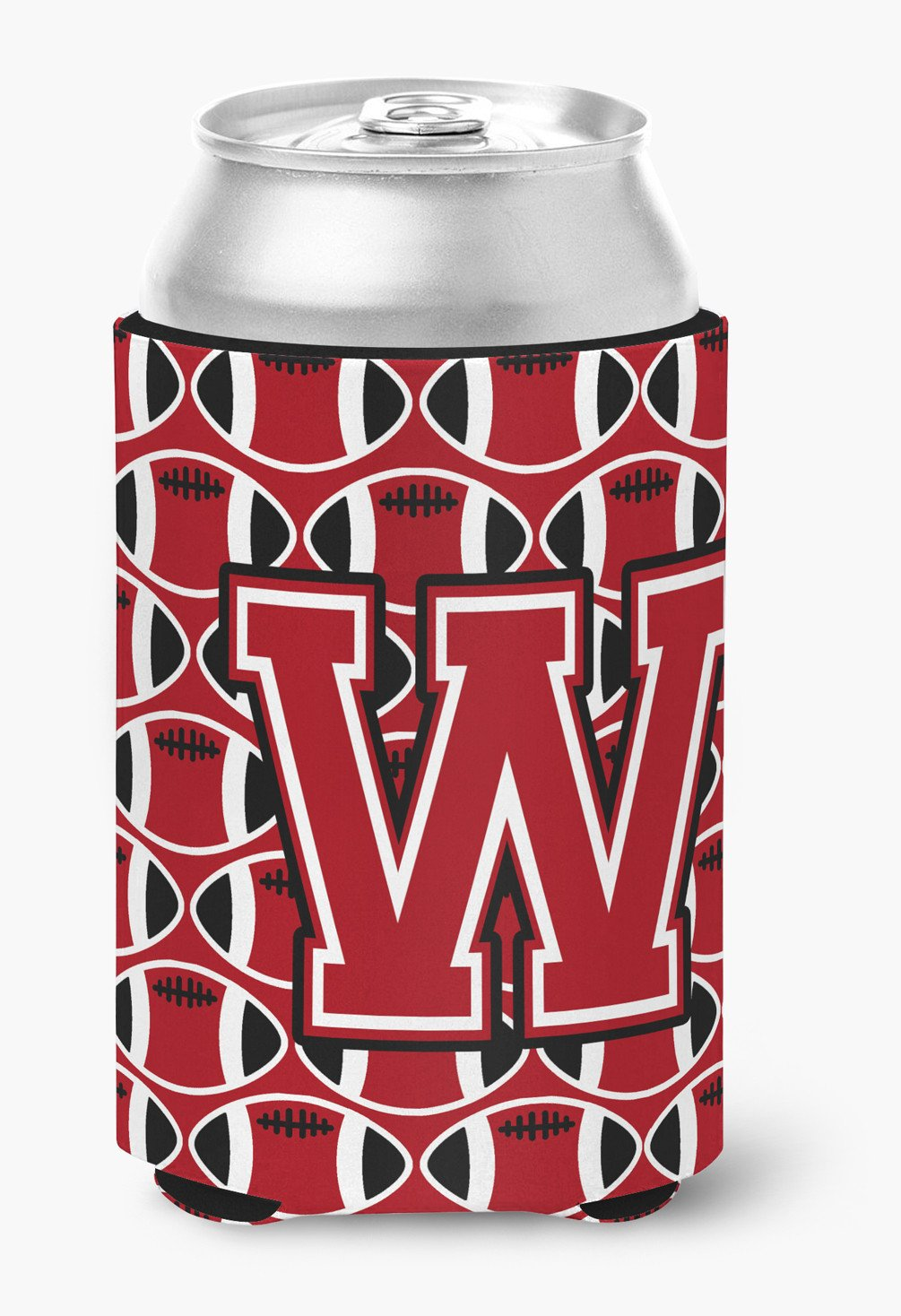 Buy this Letter W Football Red, Black and White Can or Bottle Hugger CJ1073-WCC