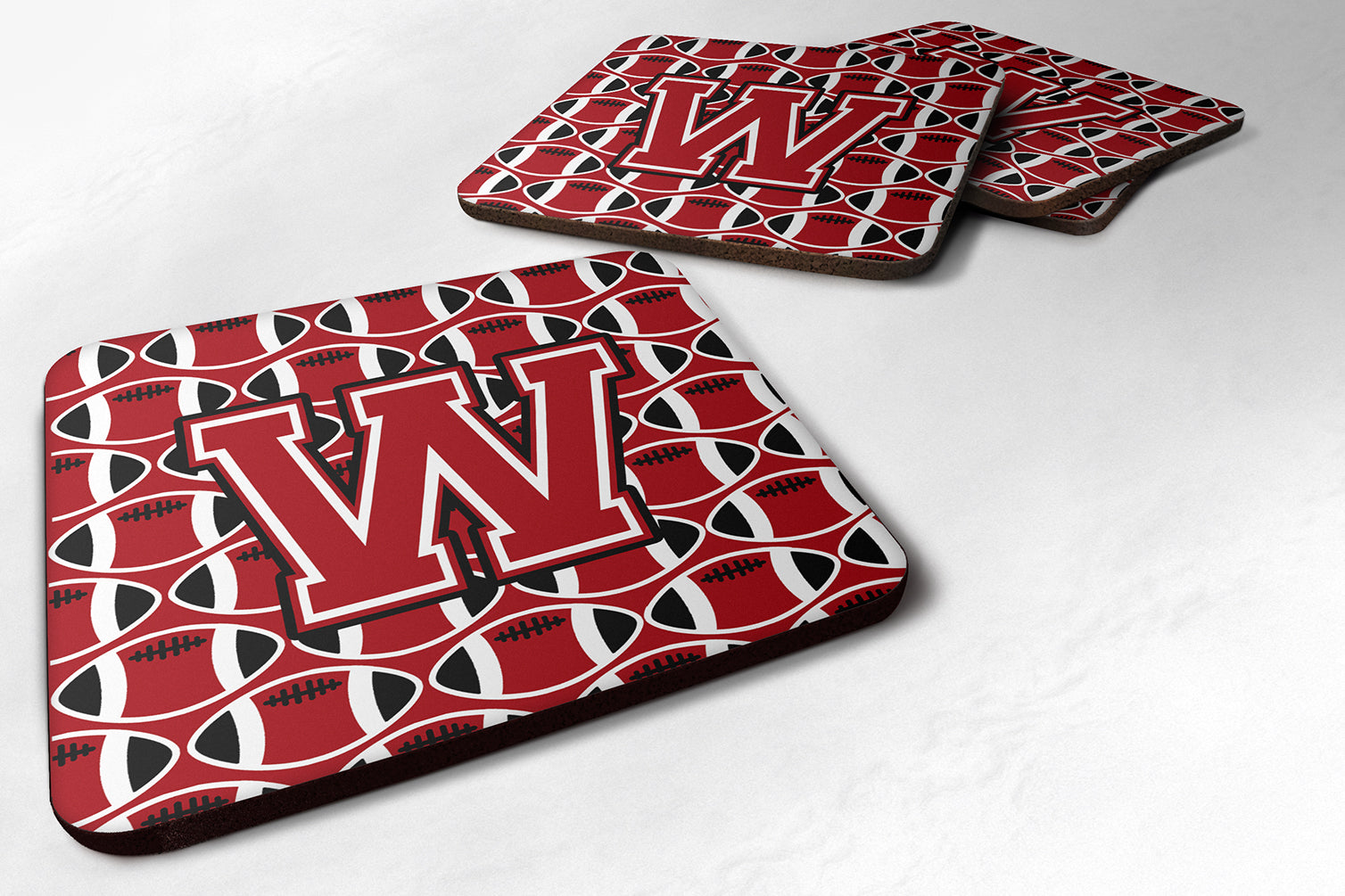 Letter W Football Red, Black and White Foam Coaster Set of 4 CJ1073-WFC by Caroline's Treasures