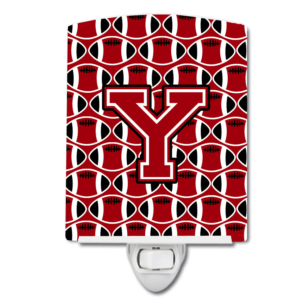 Buy this Letter Y Football Red, Black and White Ceramic Night Light CJ1073-YCNL