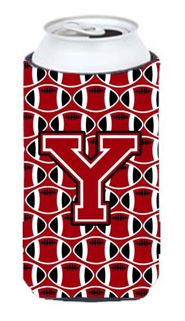 Letter Y Football Red, Black and White Tall Boy Beverage Insulator Hugger CJ1073-YTBC by Caroline's Treasures