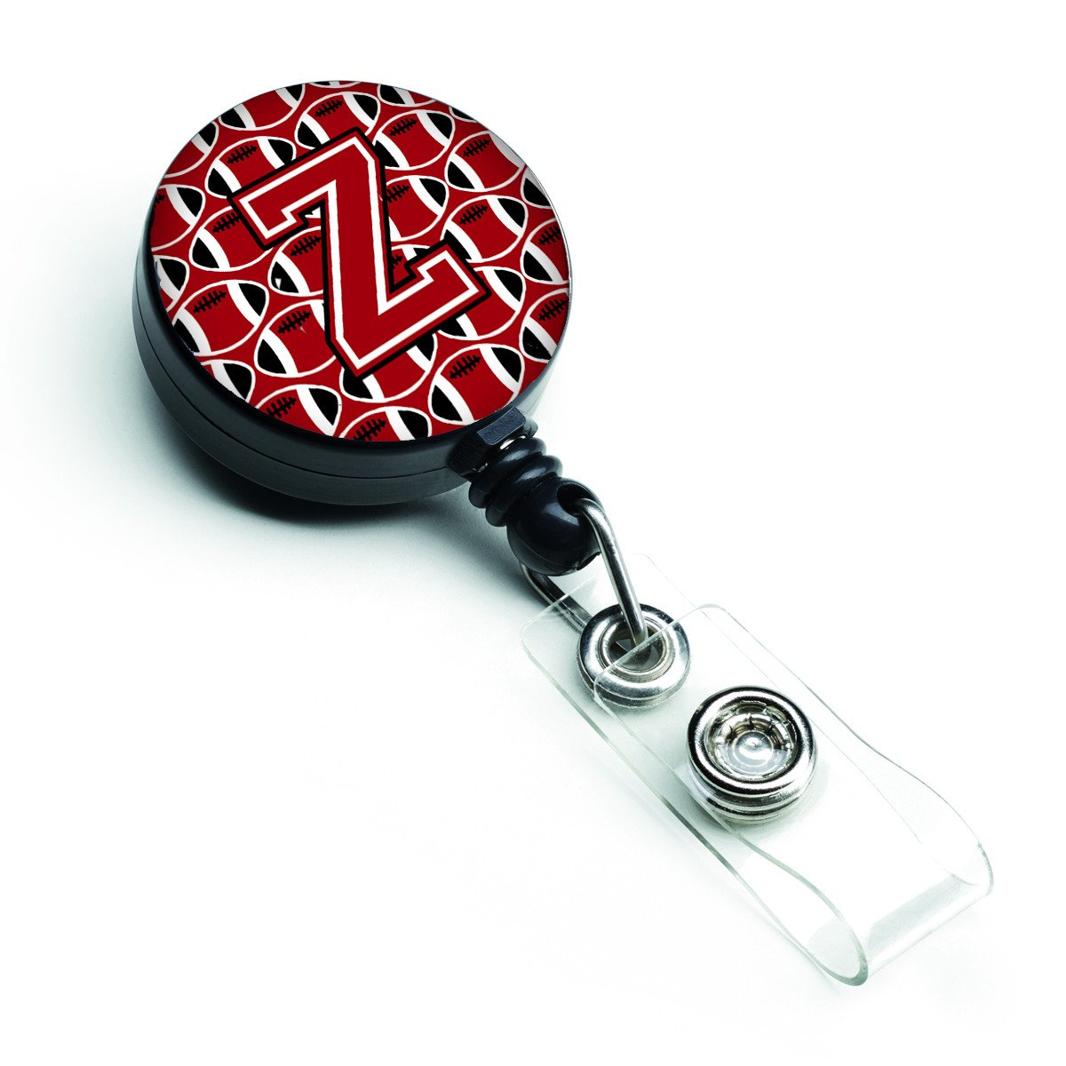 Letter Z Football Red, Black and White Retractable Badge Reel CJ1073-ZBR by Caroline's Treasures
