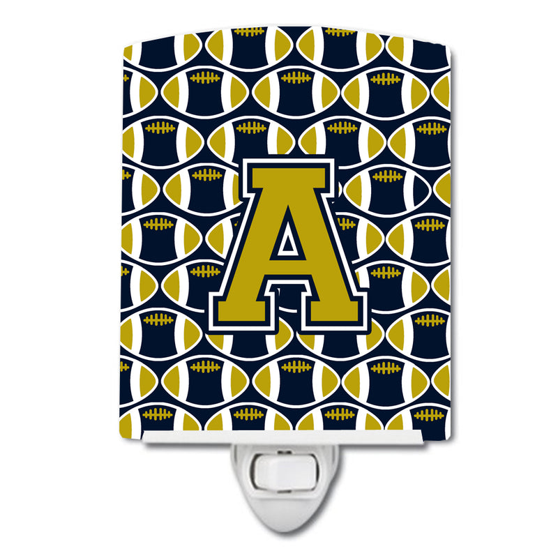 Buy this Letter A Football Blue and Gold Ceramic Night Light CJ1074-ACNL