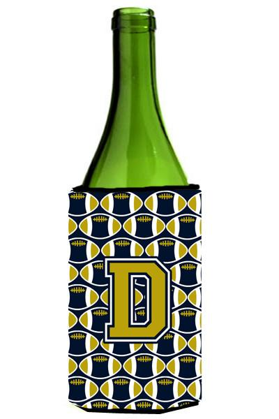 Letter D Football Blue and Gold Wine Bottle Beverage Insulator Hugger CJ1074-DLITERK by Caroline's Treasures