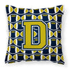 Buy this Letter D Football Blue and Gold Fabric Decorative Pillow CJ1074-DPW1414