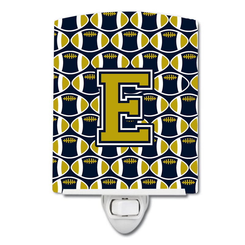 Buy this Letter E Football Blue and Gold Ceramic Night Light CJ1074-ECNL