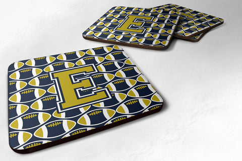 Buy this Letter E Football Blue and Gold Foam Coaster Set of 4 CJ1074-EFC