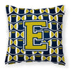 Buy this Letter E Football Blue and Gold Fabric Decorative Pillow CJ1074-EPW1414