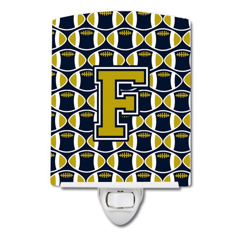 Buy this Letter F Football Blue and Gold Ceramic Night Light CJ1074-FCNL