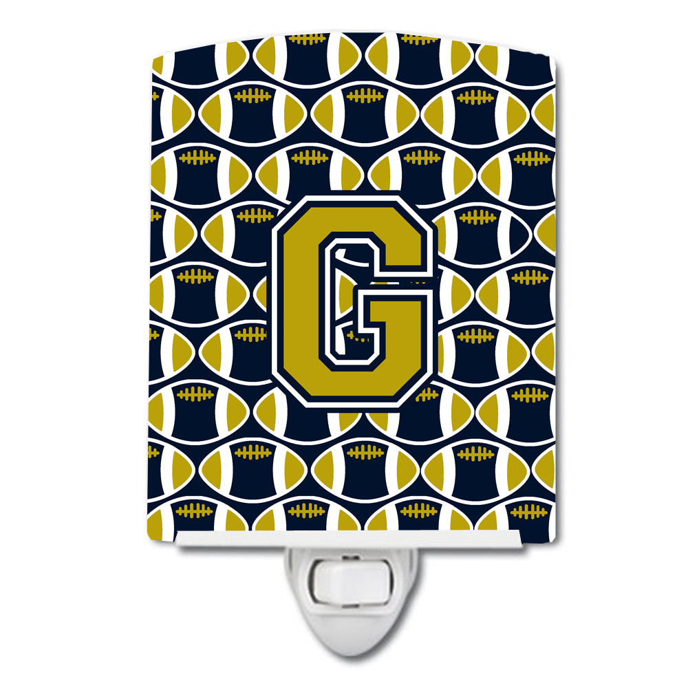 Buy this Letter G Football Blue and Gold Ceramic Night Light CJ1074-GCNL