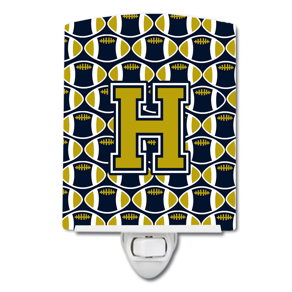 Letter H Football Blue and Gold Ceramic Night Light CJ1074-HCNL by Caroline's Treasures