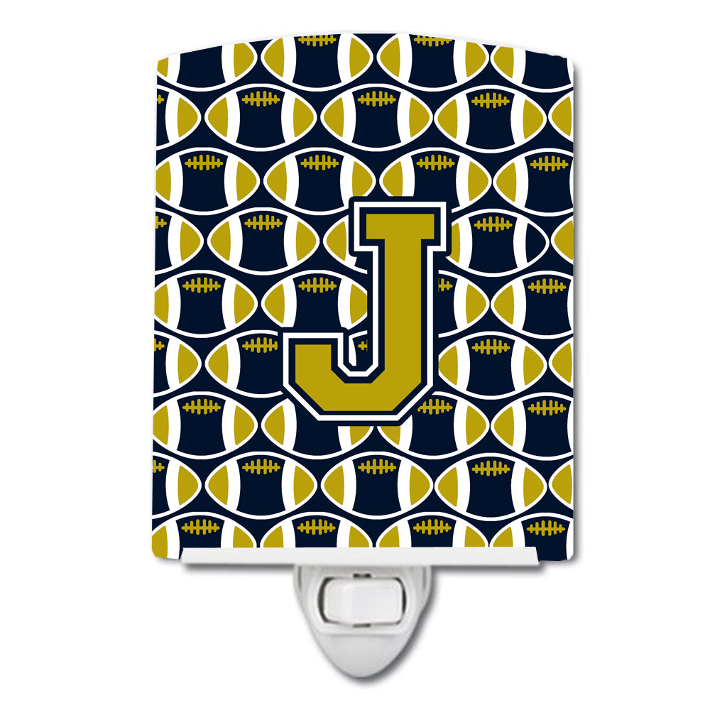 Letter J Football Blue and Gold Ceramic Night Light CJ1074-JCNL by Caroline's Treasures