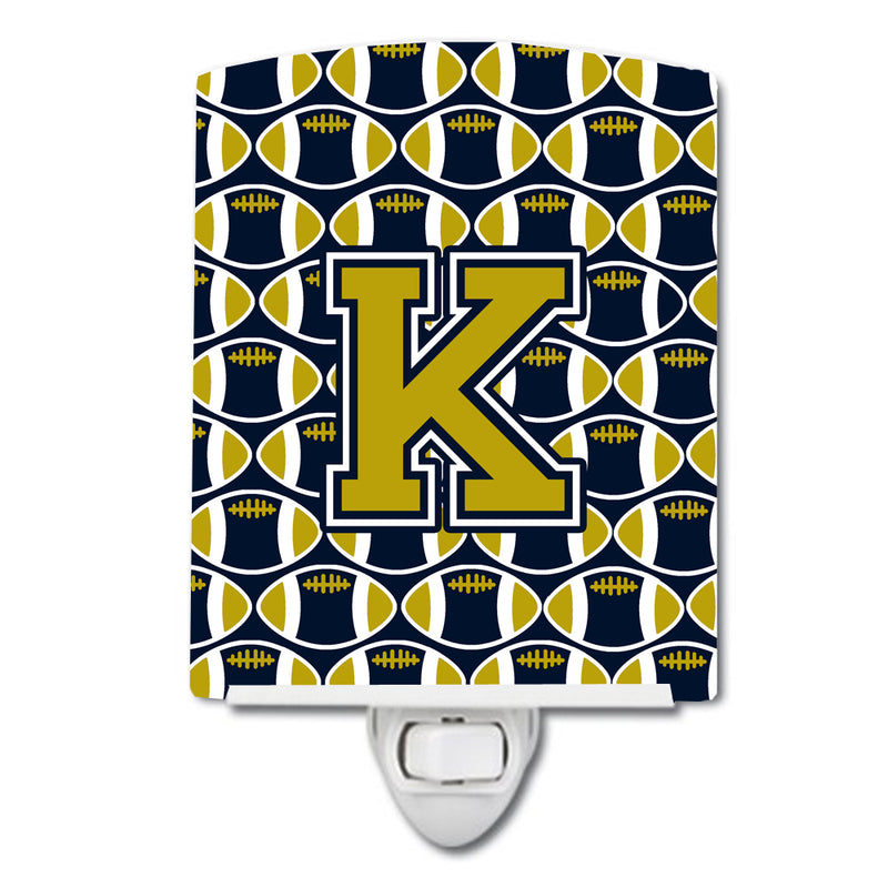 Buy this Letter K Football Blue and Gold Ceramic Night Light CJ1074-KCNL