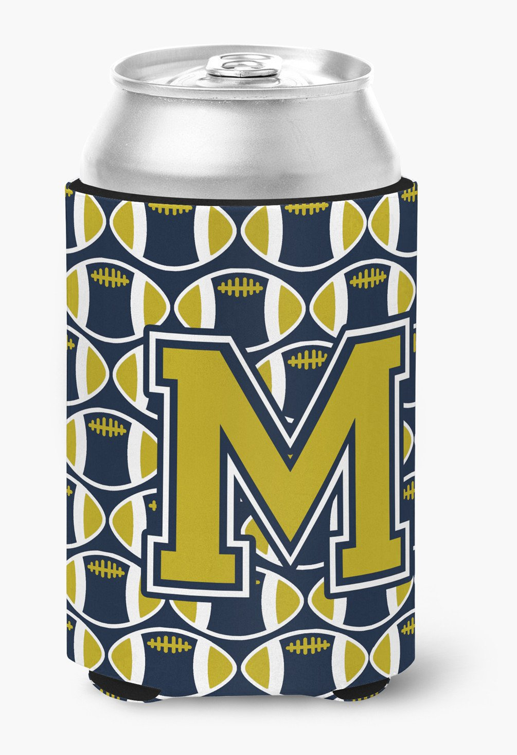 Letter M Football Blue and Gold Can or Bottle Hugger CJ1074-MCC by Caroline's Treasures
