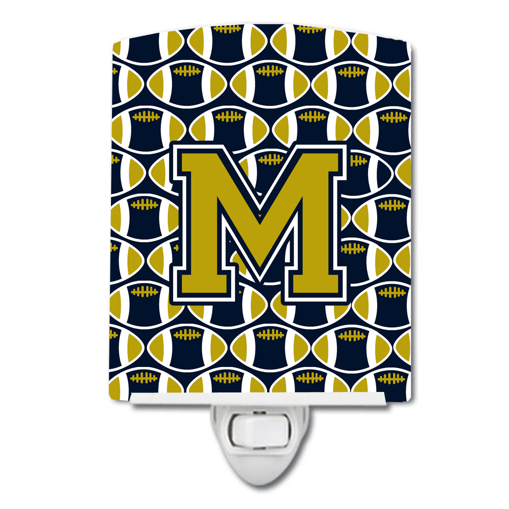 Letter M Football Blue and Gold Ceramic Night Light CJ1074-MCNL by Caroline's Treasures