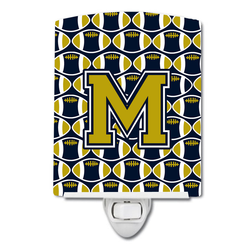 Buy this Letter M Football Blue and Gold Ceramic Night Light CJ1074-MCNL