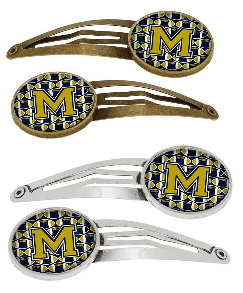 Buy this Letter M Football Blue and Gold Set of 4 Barrettes Hair Clips CJ1074-MHCS4