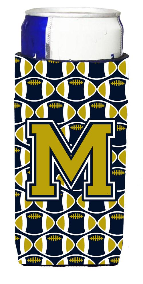Letter M Football Blue and Gold Ultra Beverage Insulators for slim cans CJ1074-MMUK by Caroline's Treasures