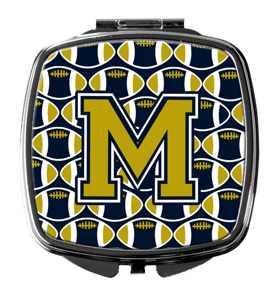 Letter M Football Blue and Gold Compact Mirror CJ1074-MSCM by Caroline's Treasures