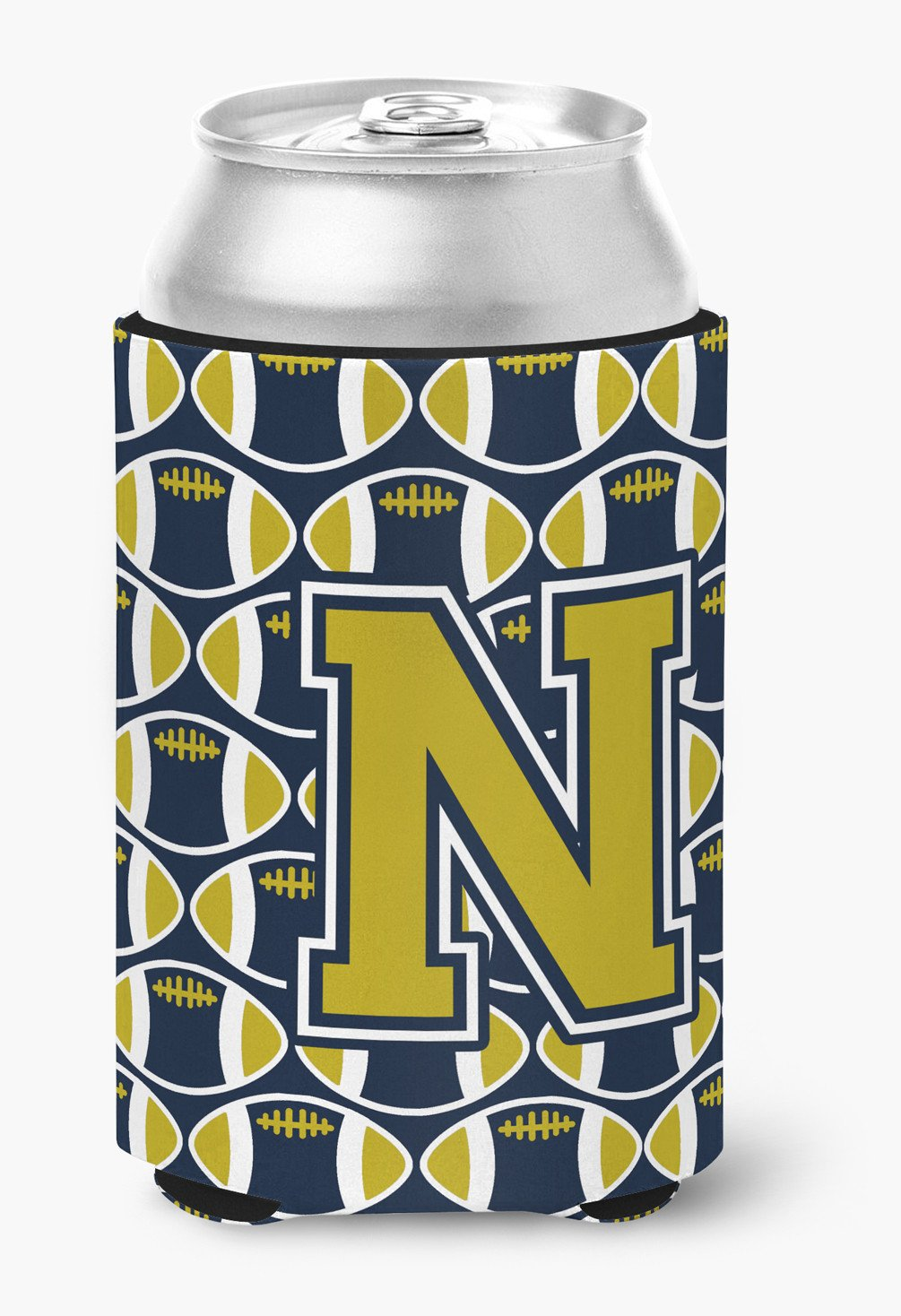 Letter N Football Blue and Gold Can or Bottle Hugger CJ1074-NCC by Caroline's Treasures