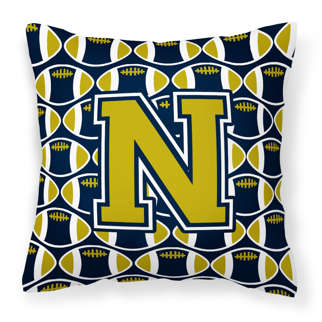 Letter N Football Blue and Gold Fabric Decorative Pillow CJ1074-NPW1414 by Caroline's Treasures