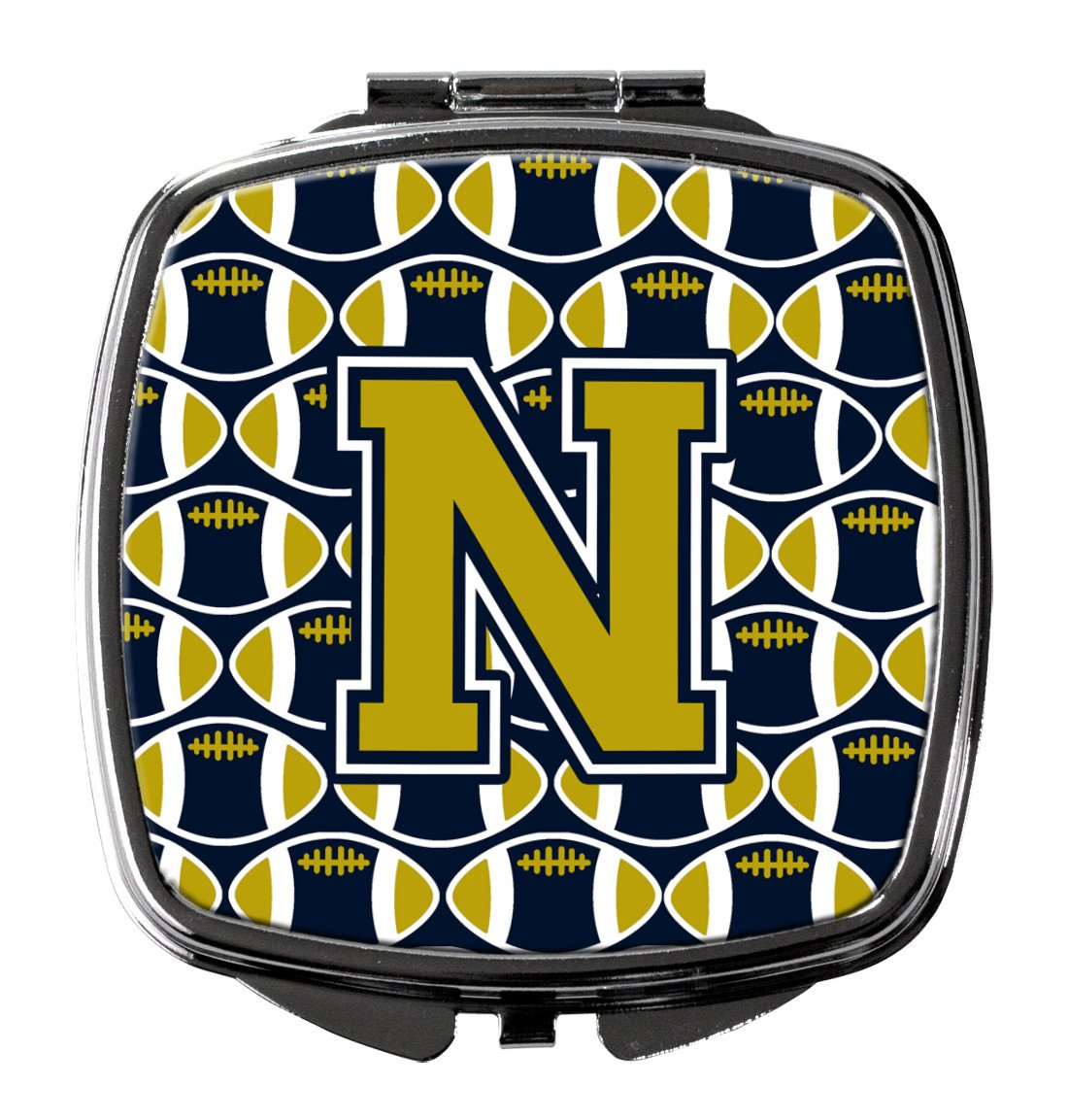 Letter N Football Blue and Gold Compact Mirror CJ1074-NSCM by Caroline's Treasures