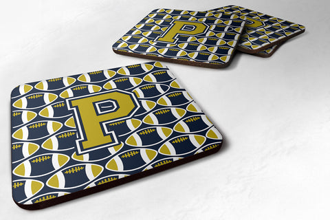 Buy this Letter P Football Blue and Gold Foam Coaster Set of 4 CJ1074-PFC