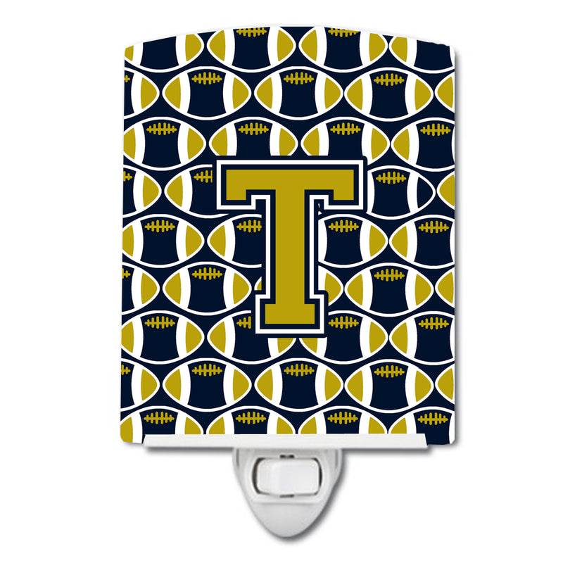 Buy this Letter T Football Blue and Gold Ceramic Night Light CJ1074-TCNL