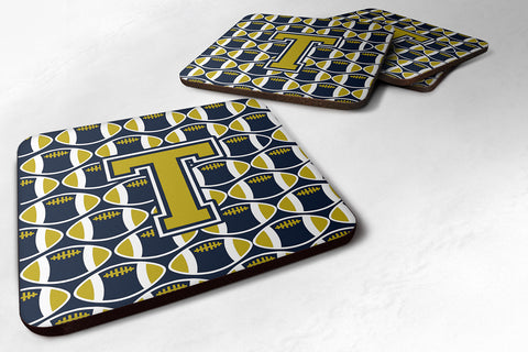 Buy this Letter T Football Blue and Gold Foam Coaster Set of 4 CJ1074-TFC