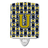 Buy this Letter U Football Blue and Gold Ceramic Night Light CJ1074-UCNL