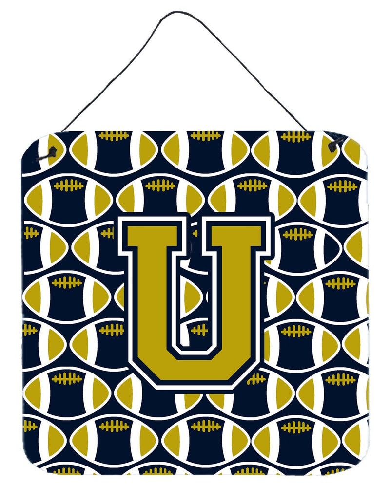 Buy this Letter U Football Blue and Gold Wall or Door Hanging Prints CJ1074-UDS66