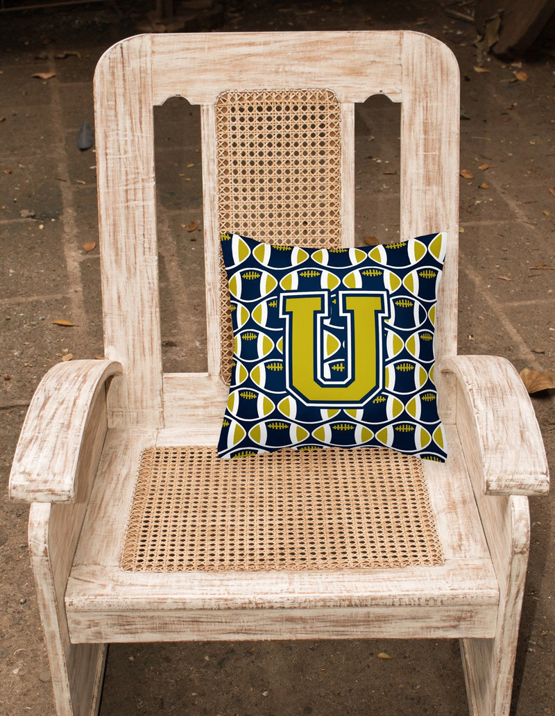 Buy this Letter U Football Blue and Gold Fabric Decorative Pillow CJ1074-UPW1414