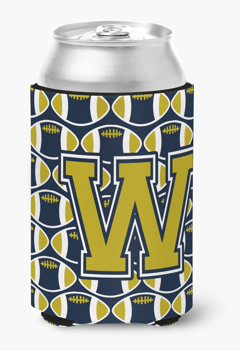 Buy this Letter W Football Blue and Gold Can or Bottle Hugger CJ1074-WCC