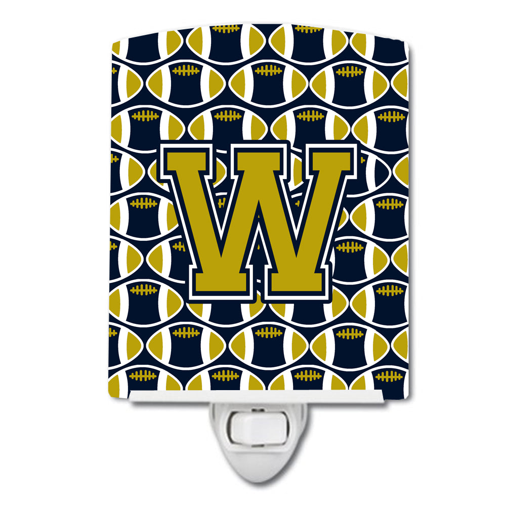 Buy this Letter W Football Blue and Gold Ceramic Night Light CJ1074-WCNL