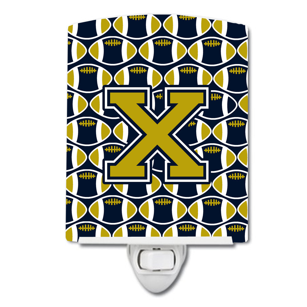 Buy this Letter X Football Blue and Gold Ceramic Night Light CJ1074-XCNL
